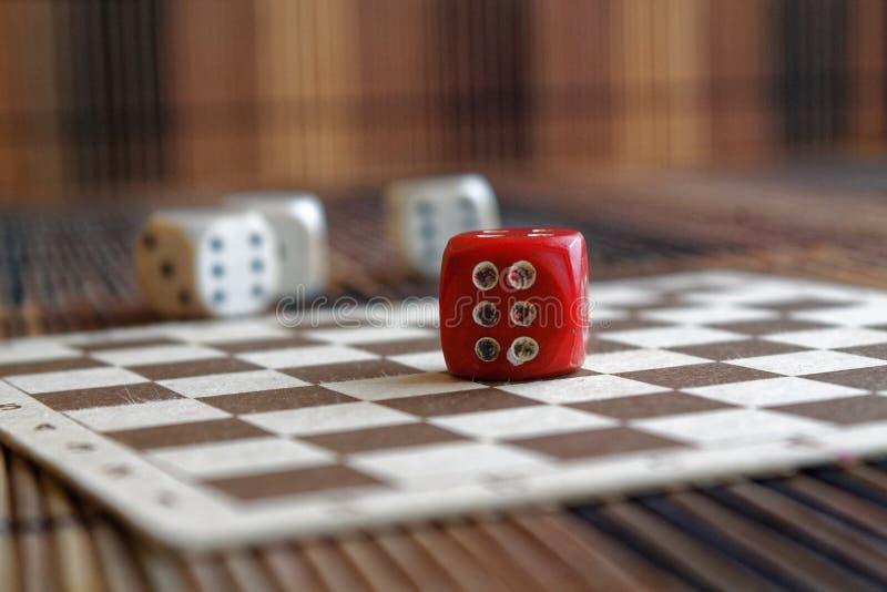 Bunten av plast- för tre vit tärnar och röd tärning en på brun träbrädebakgrund Sex sidokub med svarta prickar Nummer 6 royaltyfria bilder