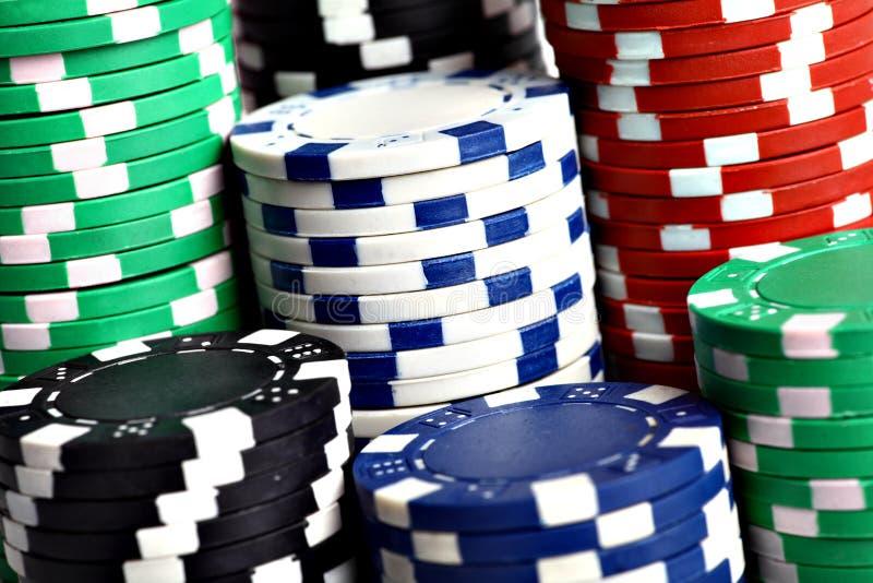 Bunten av poker gå i flisor arkivfoto