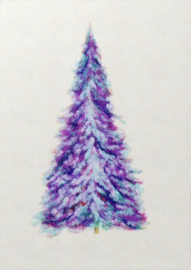 Bunter abstrakter Aquarell Weihnachtsbaum stock abbildung
