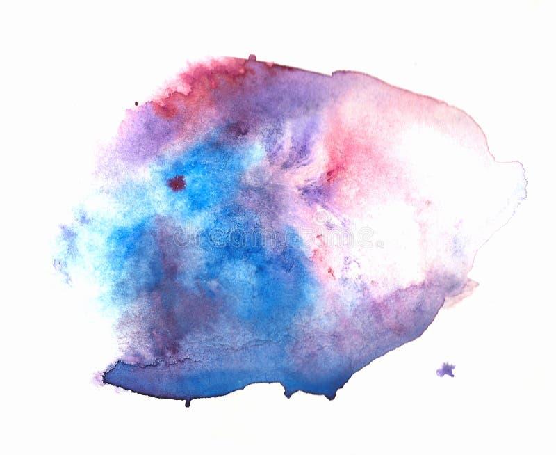 Bunter abstrakter Aquarellbeschaffenheitsfleck mit spritzt und beschmutzt in den kalten Farben lizenzfreie abbildung