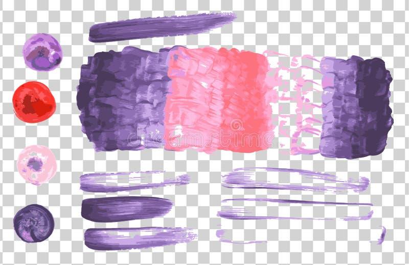 Bunter abstrakter Aquarellfleck mit spritzt und beschmutzt auf einem transparenten Hintergrund stock abbildung