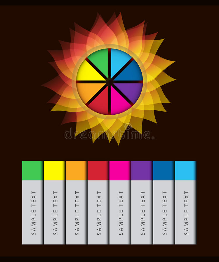 Bunter abstrakter Blume Infographic-Vektor lizenzfreie abbildung