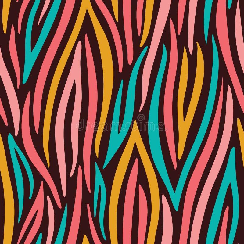 Bunter abstrakter Handgezogener gewellter Vektor-nahtloses Muster Zebratierhaut Modischer Modedruck lizenzfreie abbildung