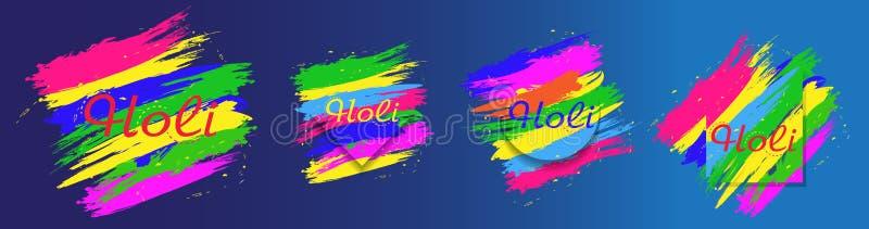 Bunter abstrakter Hintergrund Holi-Festivals Stellen Sie Elemente für Design ein Vektor lizenzfreie abbildung