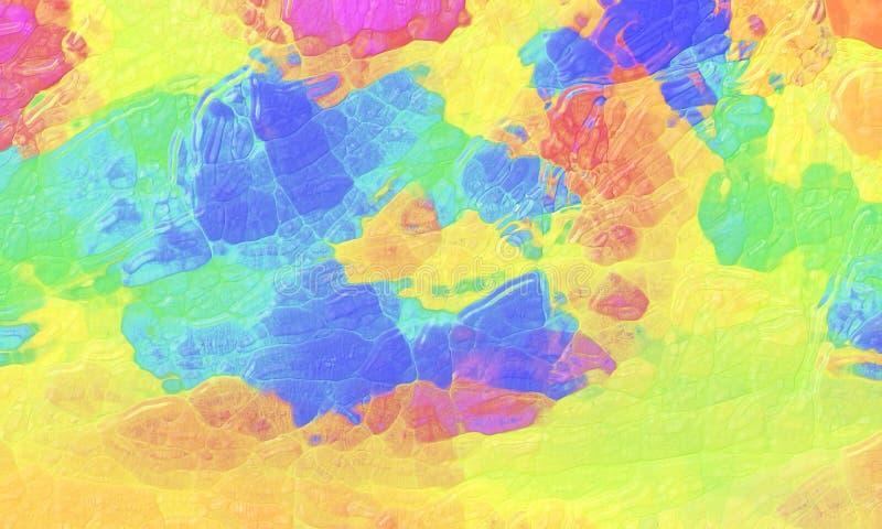 Bunter abstrakter Hintergrund mit gekrümmter Glasbeschaffenheit und mutigem hellem Farbspritzenentwurf grünes Rosa in blauem gelb lizenzfreie abbildung