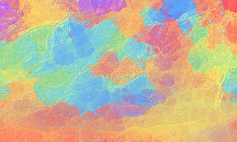 Bunter abstrakter Hintergrund mit gekrümmter Glasbeschaffenheit und mutigem hellem Farbspritzenentwurf im blauen gelben roten Pur lizenzfreie abbildung