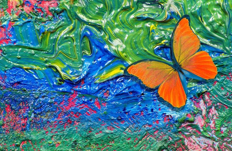 Bunter abstrakter Hintergrund Orange Schmetterling B?rstenanschl?ge auf dem Palettenabschlu? oben Gemalter abstrakter Hintergrund lizenzfreie abbildung