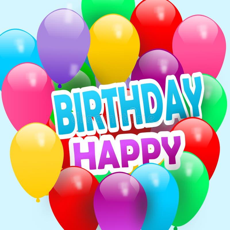 Bunter alles- Gute zum Geburtstaggruß der Ballone fliegende Geburtstagsballone lizenzfreies stockfoto