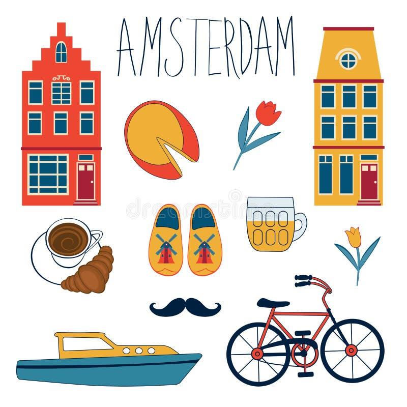 Bunter Amsterdam-Satz stock abbildung