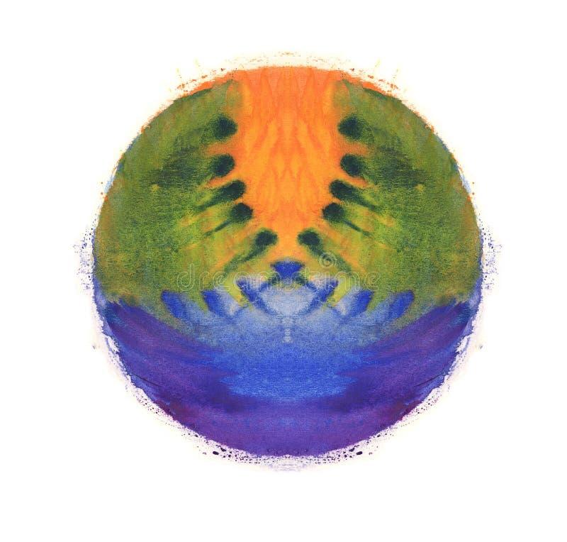 Bunter Aquarellbereich Abstrakter Anstrich Blaue, grüne, gelbe und orange Farbe Mehrfarbige abstrakte befleckte Beschaffenheit B  stockfotografie