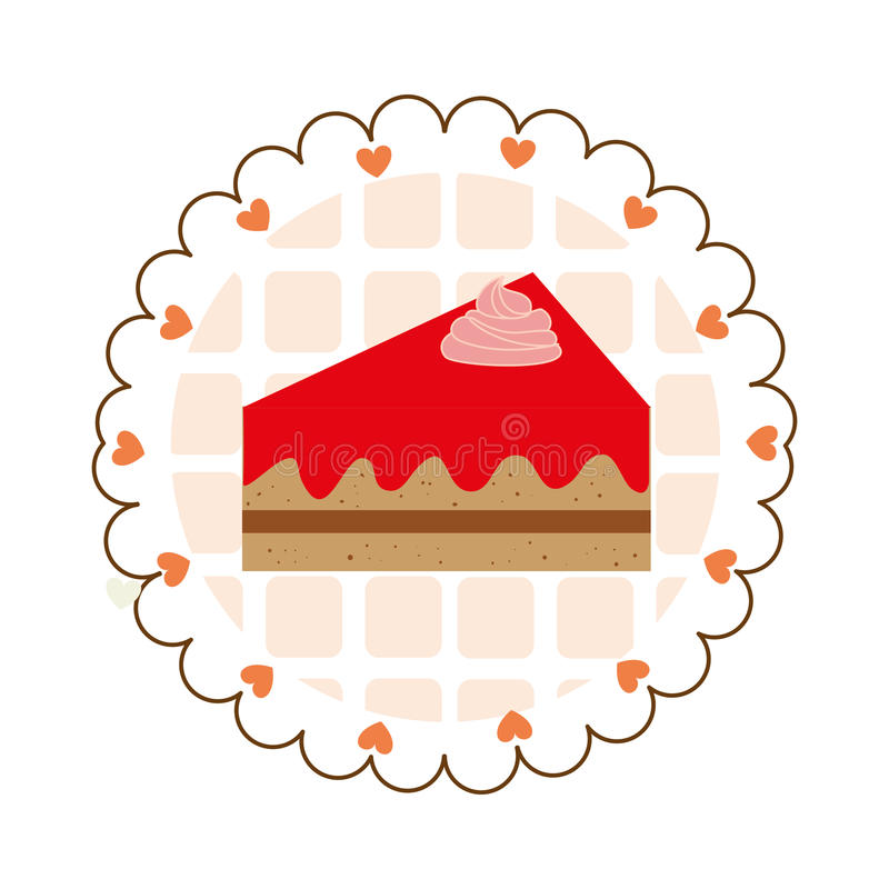 Bunter Aufkleber mit Stück Kuchen und Herzen stock abbildung
