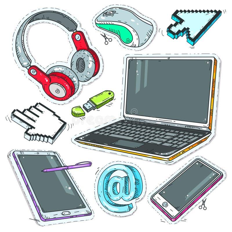 Bunter Aufklebercomputer, Internet-Zeiger, Kopfhörer und Laptop stock abbildung