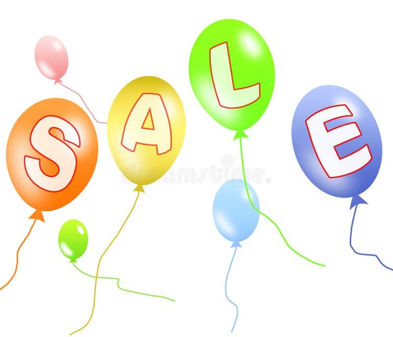 Bunter Ballonverkauf mit Ausschnittspfad stock abbildung