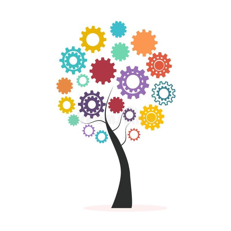 Bunter Baum des industriellen Innovationskonzeptes gemacht vom Zahn- und Gangvektor lizenzfreie abbildung