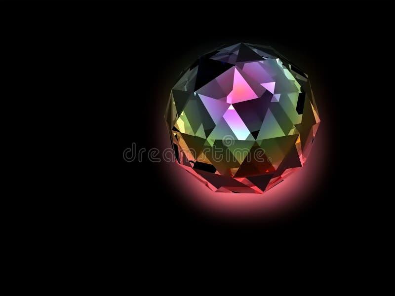 Bunter belichteter kugelförmiger Kristall stock abbildung