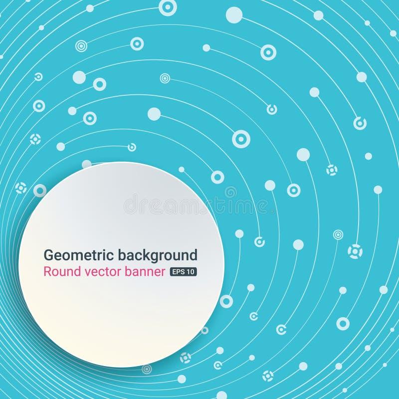 Bunter blauer Hintergrund Runde Fahne Leerer Platz für Text Die chaotische Bewegung der Molekülstruktur Thema von Medizin, Sc vektor abbildung