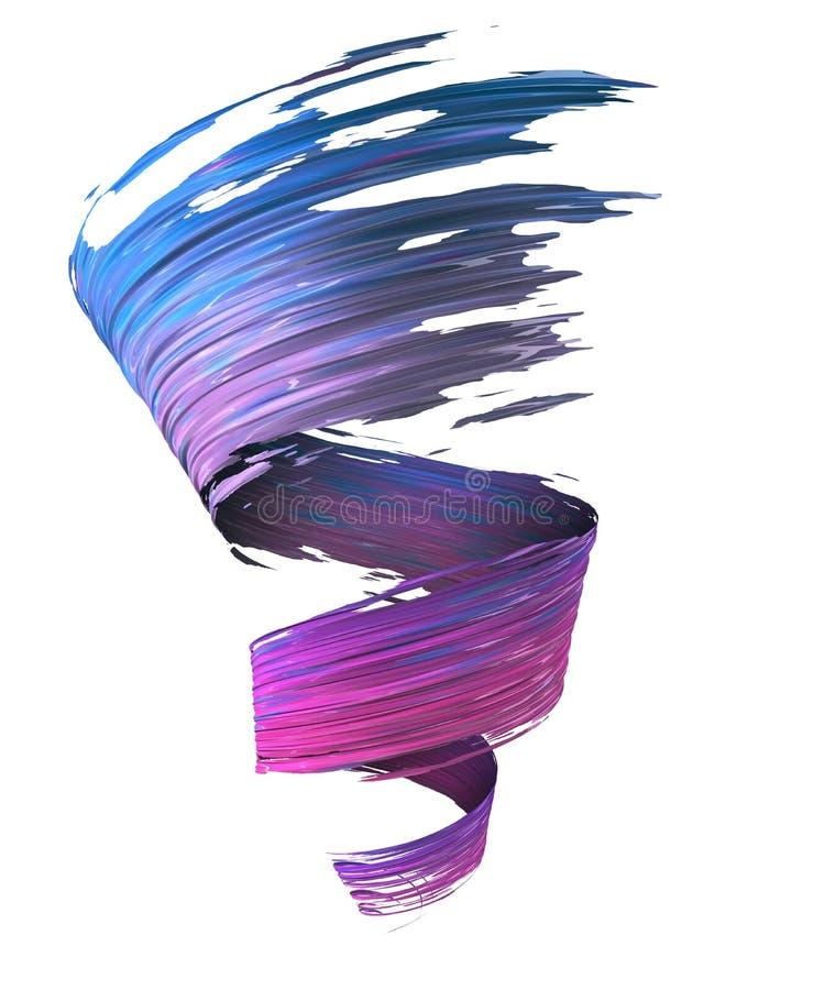 Bunter blauer, violetter und magentaroter Farben-Anschlagstrudel der Bürste 3D lizenzfreie abbildung