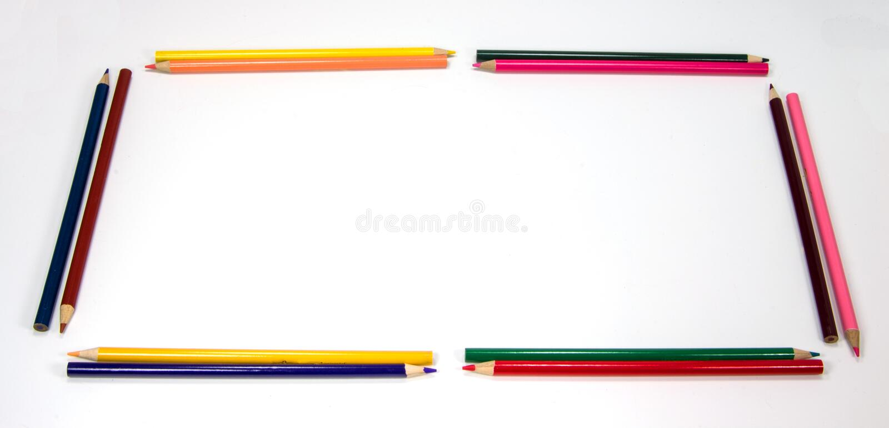 Bunter Bleistift-Rahmen als Rechteck stockbild