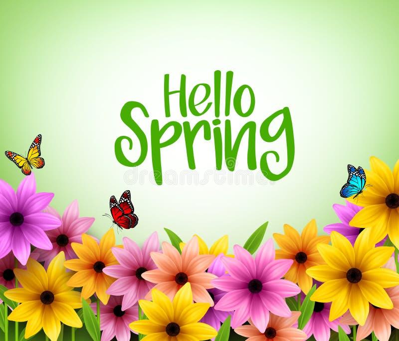 Bunter Blumen-Hintergrund im realistischen Vektor 3D für Frühlings-Saison vektor abbildung