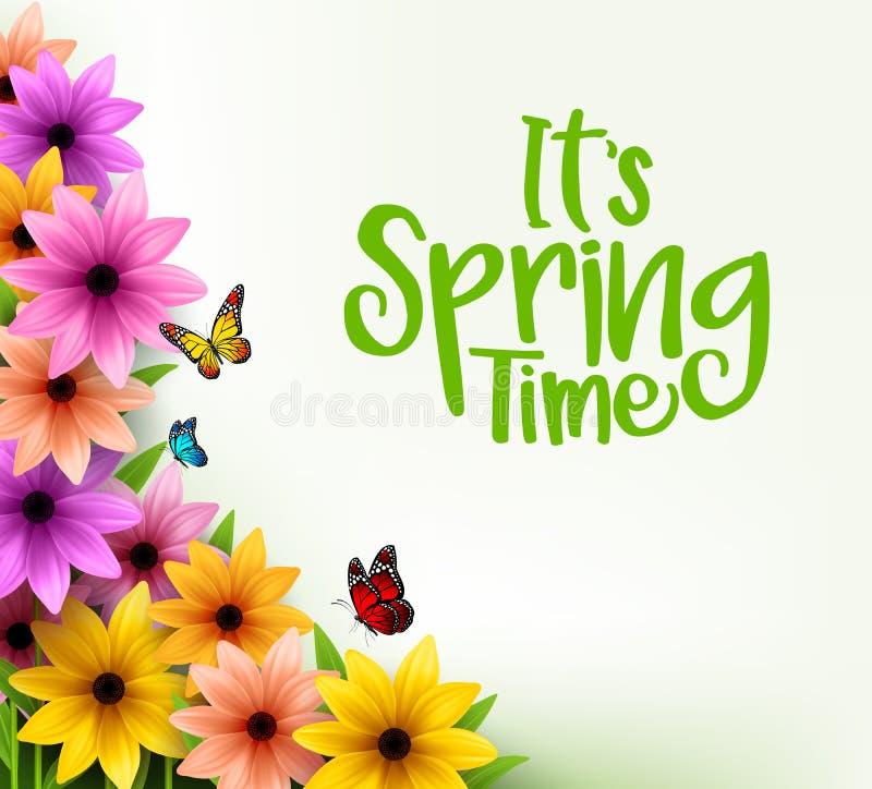 Bunter Blumen-Hintergrund im realistischen Vektor 3D für Frühlings-Saison lizenzfreie abbildung