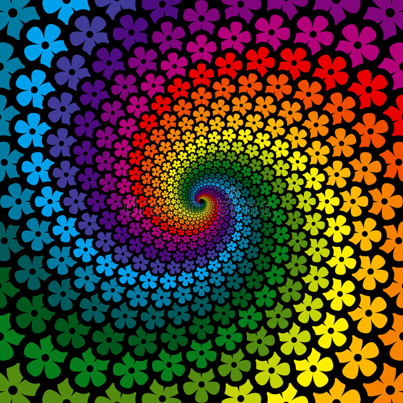 Bunter Blumen-Spirale-Hintergrund vektor abbildung