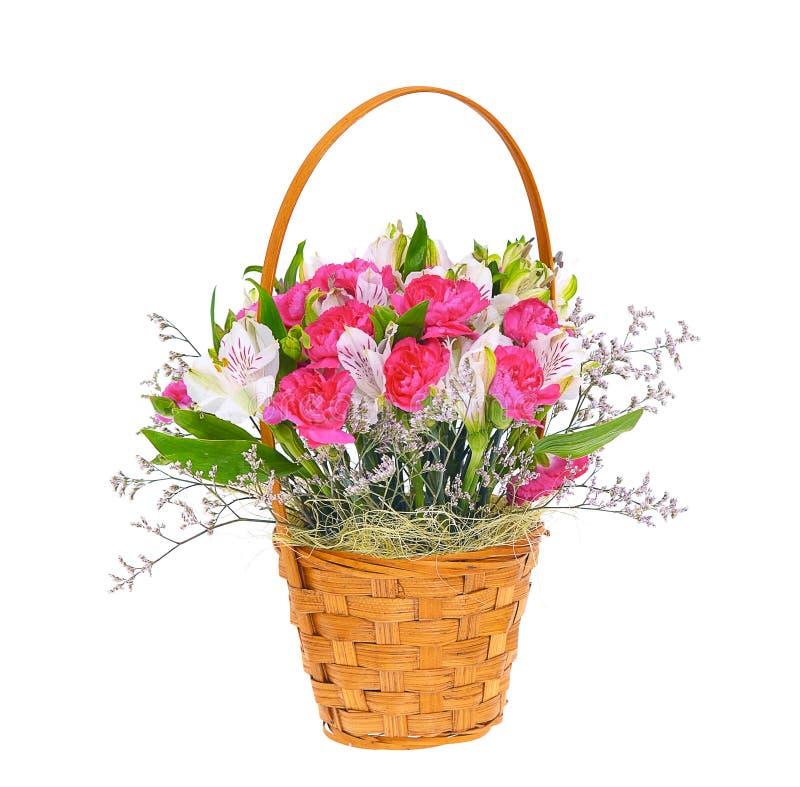 Bunter Blumenblumenstrauß getrennt auf Weiß stockfotos