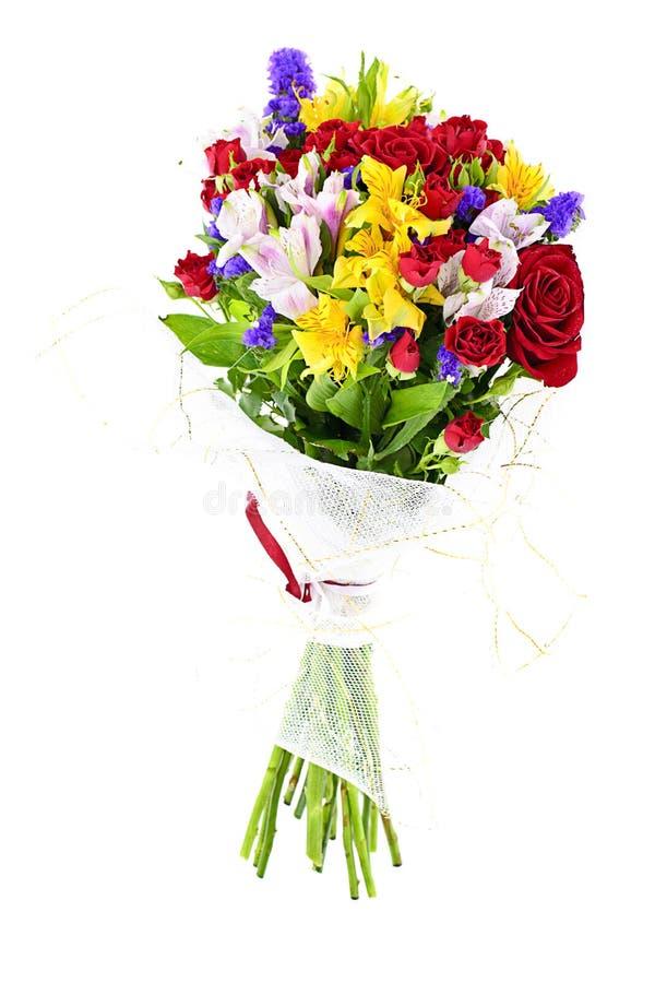 Bunter Blumenblumenstrauß getrennt auf Weiß stockfotografie
