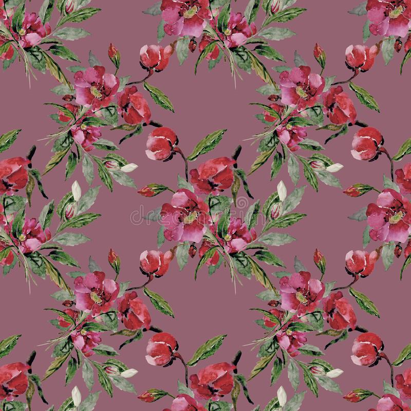 Bunter Blumenhintergrund Aquarell - Illustration lizenzfreies stockfoto
