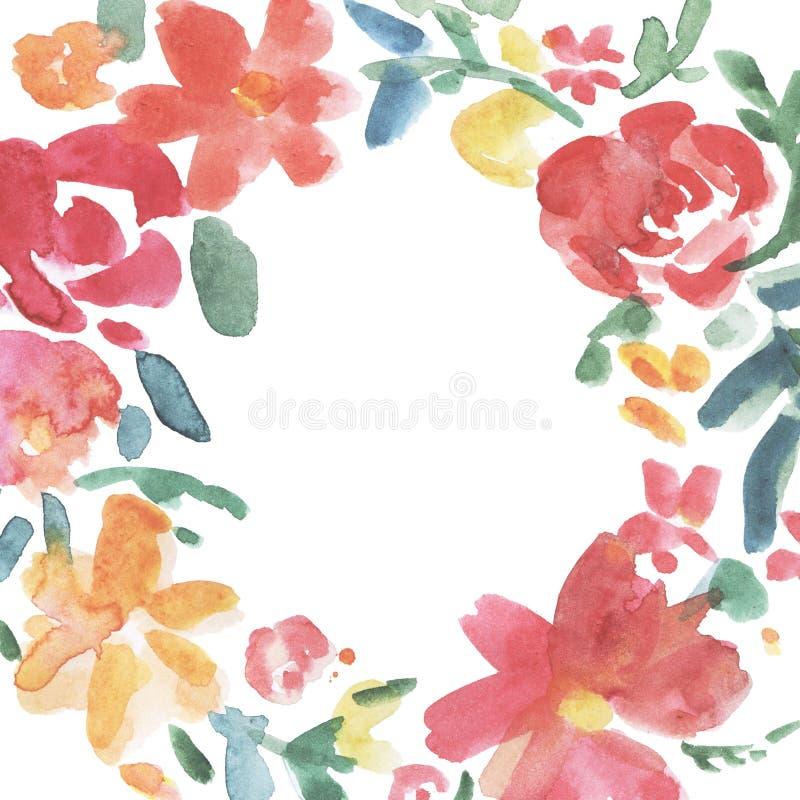 Bunter Blumenkranz Kranz, Blumenrahmen, Aquarellblumen, Illustration handgemalt Getrennt auf weißem Hintergrund stock abbildung