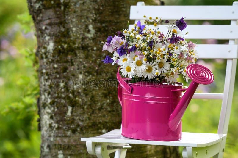 Bunter Blumenstrauß der wilden Blume in einer rosa Gießkanne lizenzfreies stockbild