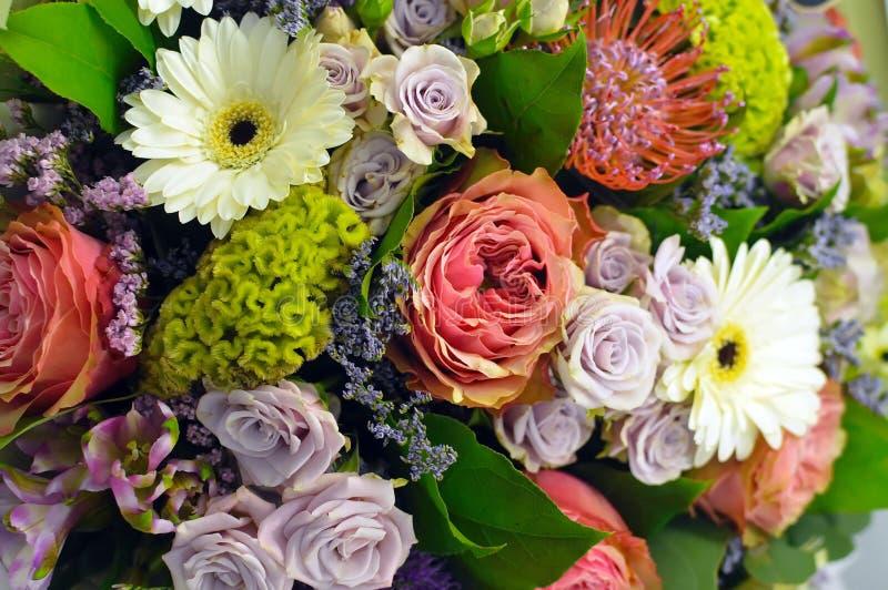 Bunter Blumenstrauß von Blumen in der roten Skala lizenzfreie stockfotos