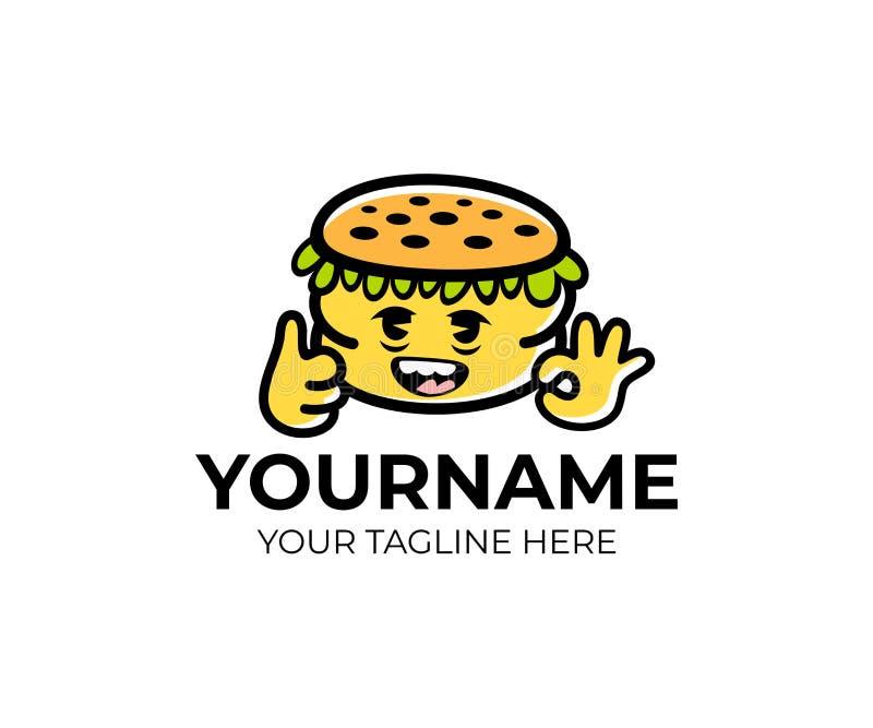 Bunter Burger der Karikatur, Logoschablone Bunter Hamburger des Charakters, Vektordesign stock abbildung