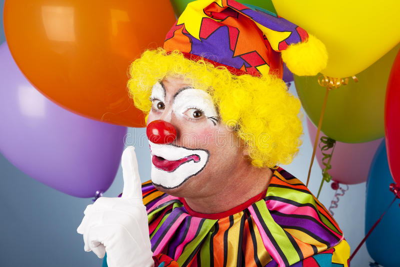 Bunter Clown - Shhhh lizenzfreies stockbild