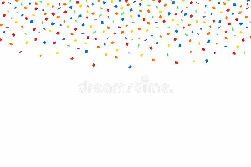 Bunter Confetti Festlicher Hintergrund mit den roten, goldenen und blauen Konfettis Fallende Konfettis lokalisiert auf weißem Hin lizenzfreie abbildung