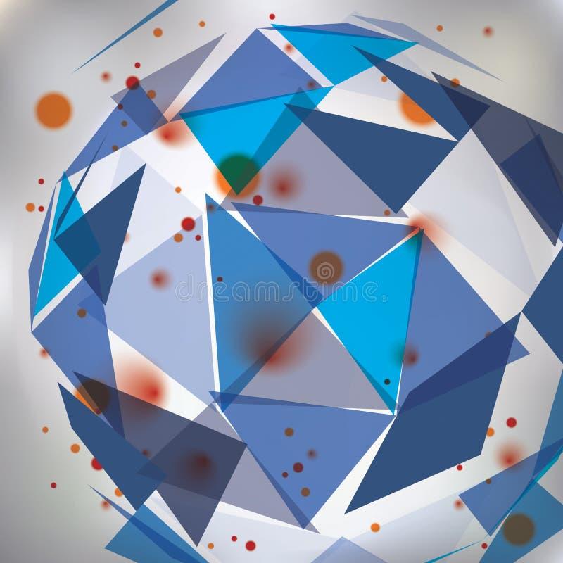Bunter Designhintergrund der OPkunst, abstraktes futuristisches stilvolles Blaues vektor abbildung