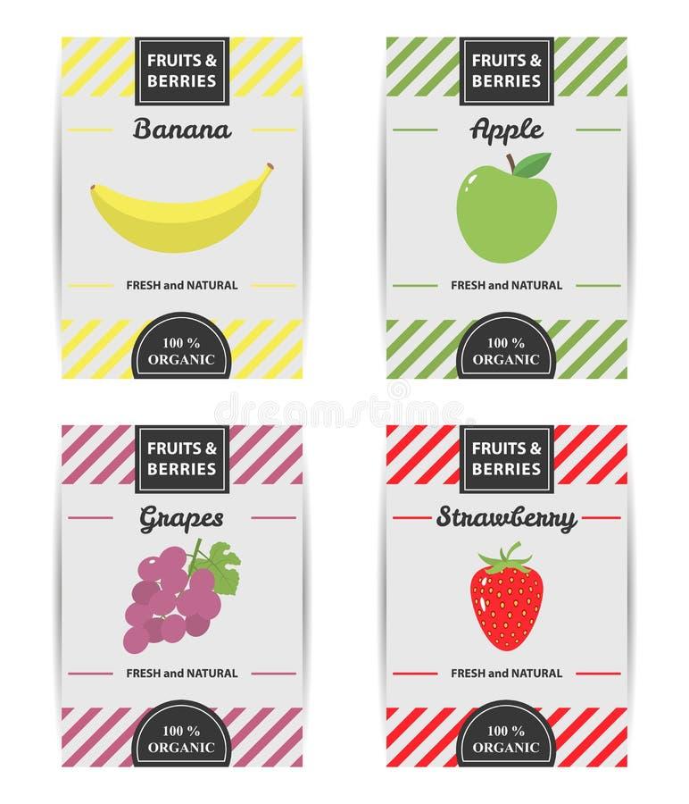Bunter Designsatz Fruchtaufkleber lizenzfreie abbildung