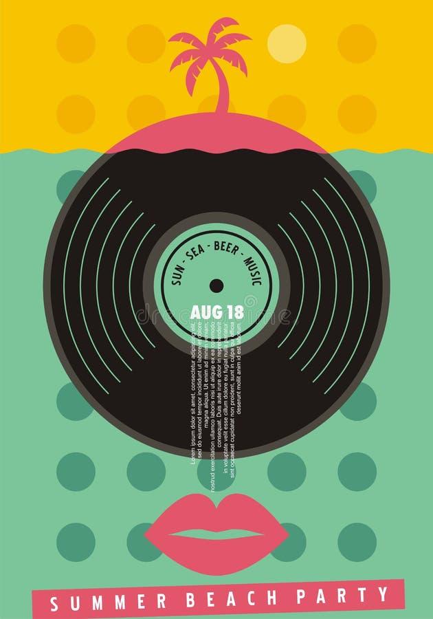 Bunter Einladungsentwurf des Sommerstrandfests stock abbildung