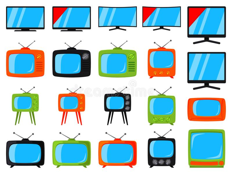 Bunter Elementsatz der Karikatur 20 Fernseh stock abbildung