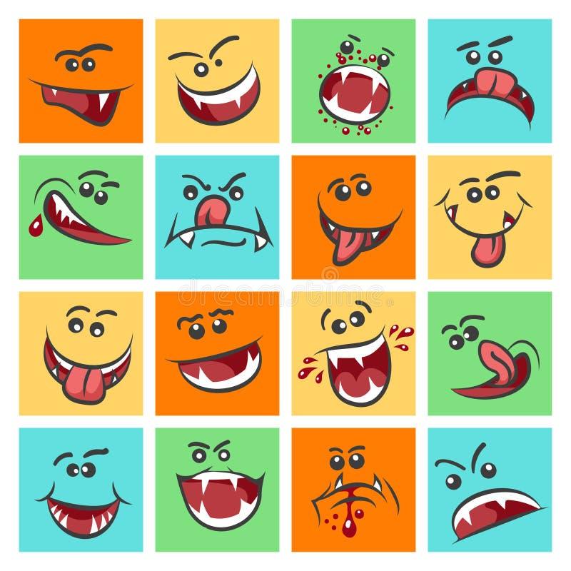 Bunter Emoticon stellt Vektorillustration gegenüber Nette Stimmungsikonen oder gegenüberstellen Emoticons lizenzfreie abbildung