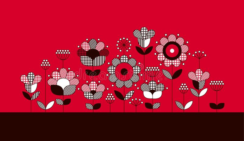 Bunter ethnischer Blumenausschnitt stock abbildung