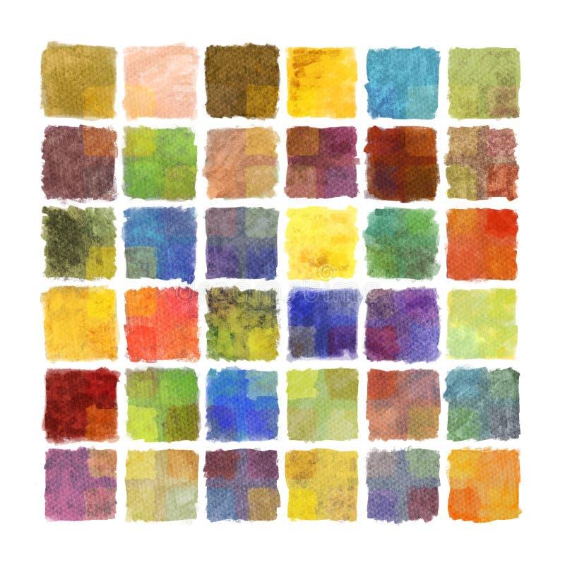 Bunter Farbenquadrathintergrund auf Aquarellpapier lizenzfreie abbildung
