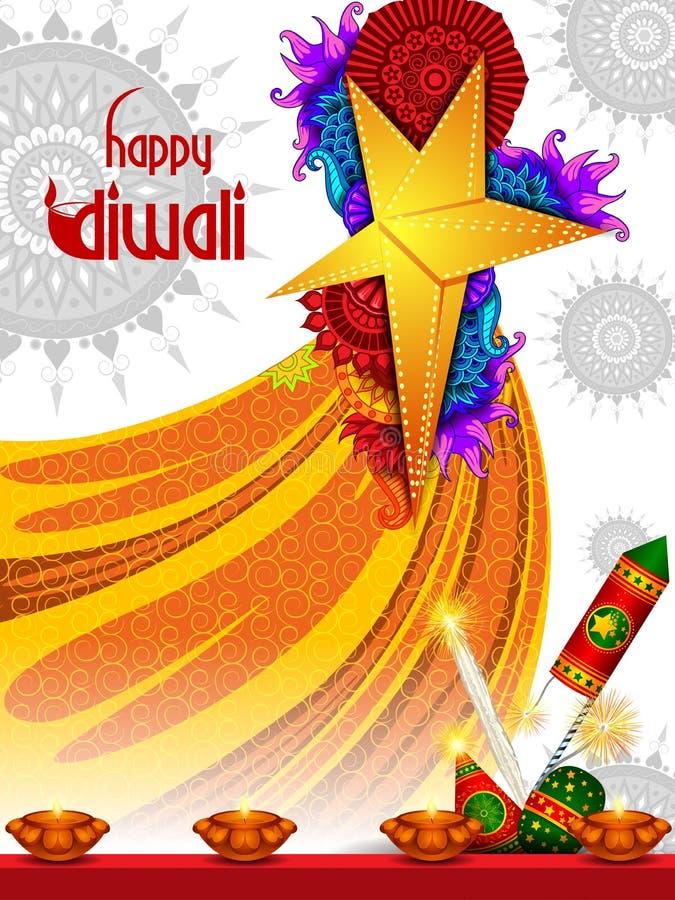 Bunter Feuercracker mit verziertem diya für glückliche Diwali-Festival-Feiertagsfeier des Indien-Grußhintergrundes lizenzfreie abbildung
