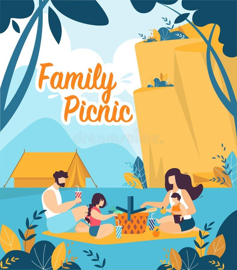 Bunter Flieger schriftlich Familien-Picknick-Karikatur stock abbildung