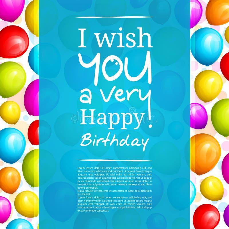 Bunter Geburtstag steigt auf Hintergrund und stilvoller Beschriftung im Ballon auf Vektor lizenzfreie abbildung