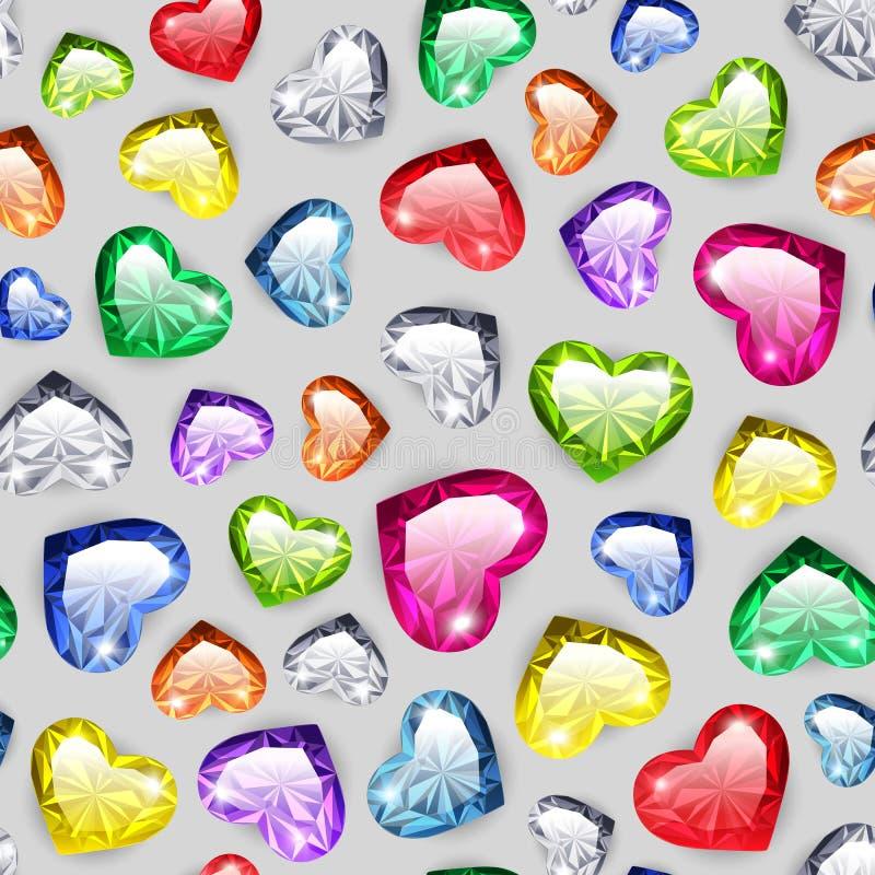 Bunter Gem Hearts Seamless Pattern lizenzfreie abbildung