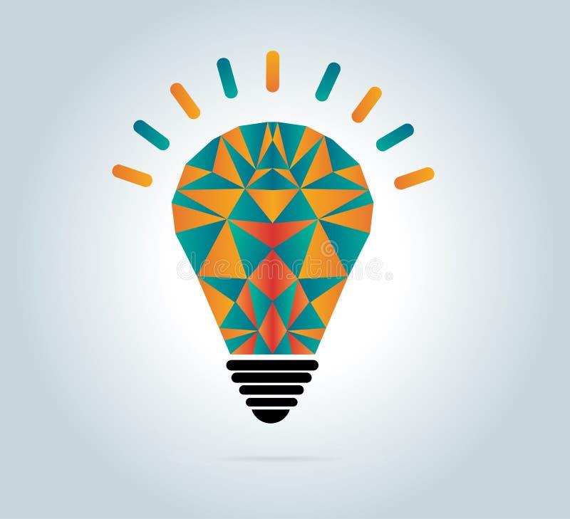 Bunter geometrischer Birnenvektor, Glühlampe und kreatives Konzept der kreativen Illustrationsikone Vektorkonzept - Kreativität u lizenzfreie abbildung