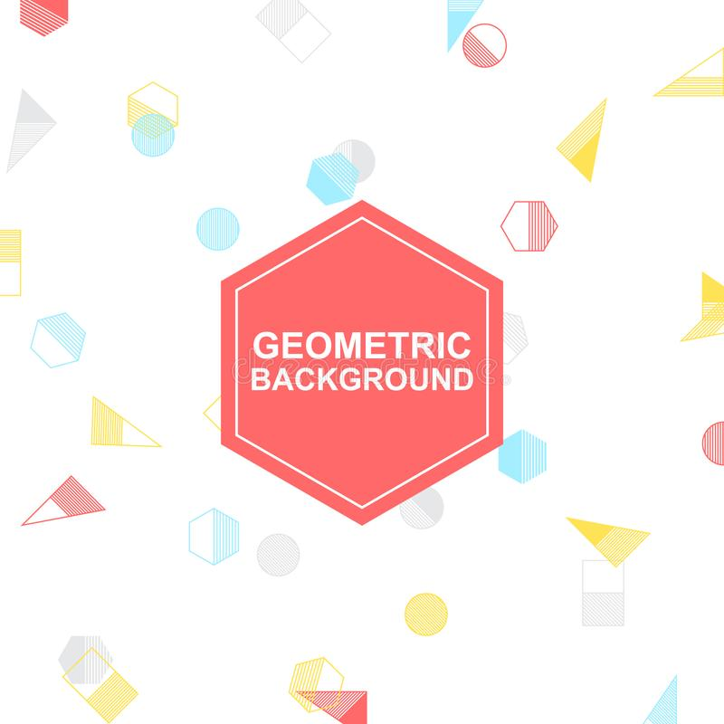 Bunter geometrischer Vektor, weißer Hintergrund für Ihr Design und Grafik stockbilder