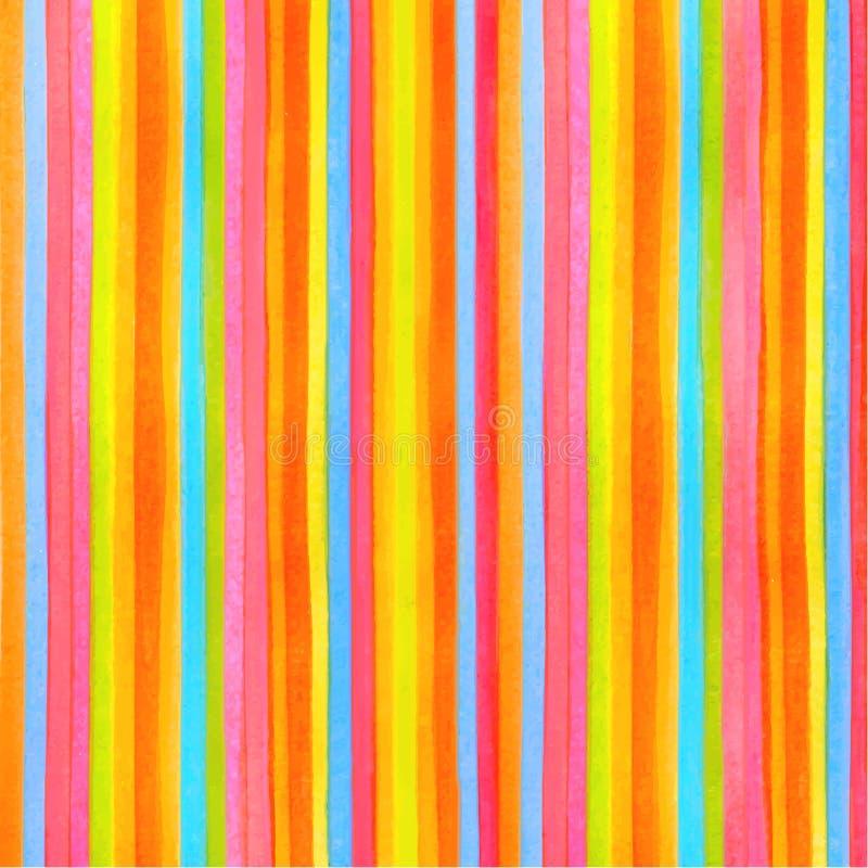Bunter gestreifter (Streifenmuster) Hintergrund Vector Aquarellhintergrund mit Regenbogenbeschaffenheit für jede Illustration des lizenzfreie abbildung