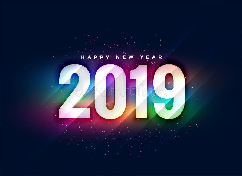 bunter glänzender Hintergrund des neuen Jahres 2019 lizenzfreie abbildung