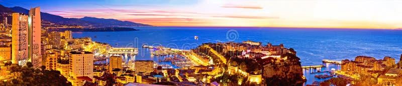 Bunter Glättungspanoramablick Monte Carlo Stadtbilds von oben stockfoto